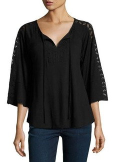 Neiman Marcus Lace-Trim Relaxed Peasant Top