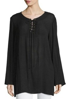 Neiman Marcus Lace-Up Bell-Sleeve Blouse