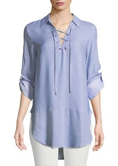 Neiman Marcus Lace-Up Collared Tunic