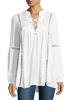 Neiman Marcus Lace-Up Crochet-Inset Blouse