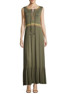 Neiman Marcus Lace-Up Embroidered Maxi Dress