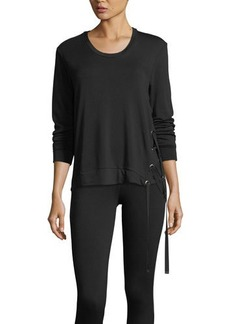 Neiman Marcus Lace-Up High-Low Jersey Tee