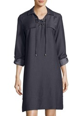 Neiman Marcus Lace-Up Placket Chambray Shirt Dress
