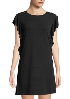 Neiman Marcus Lace-Up Shoulder Ruffled Shift Dress