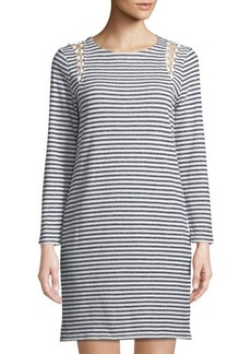 Neiman Marcus Lace-Up-Shoulder Striped Dress