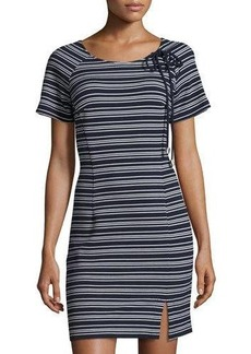 Neiman Marcus Lace-Up Striped Sheath Dress