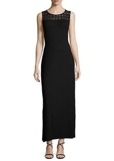 Neiman Marcus Lace-Yoke Ribbed Maxi Dress