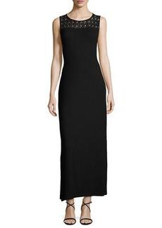 Neiman Marcus Lace-Yoke Ribbed Maxi Dress