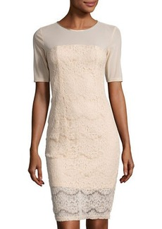 Neiman Marcus Lace/Mesh Combo Short-Sleeve Dress
