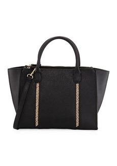 Neiman Marcus Lacing Saffiano Zip Satchel Bag