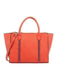 Neiman Marcus Lacing Saffiano Zip Satchel Bag