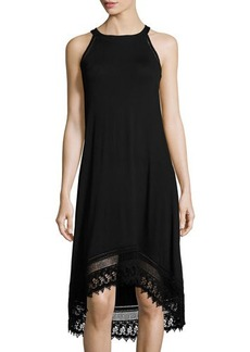 Neiman Marcus Ladder-Stitch Trim Sleeveless Jersey Dress