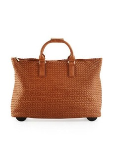Neiman Marcus Laney Woven Faux-Leather Rolling Bag