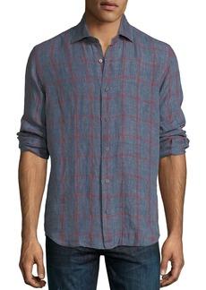 Neiman Marcus Large-Check Linen Sport Shirt