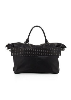Neiman Marcus Large Faux-Leather Grommet Weekender Bag
