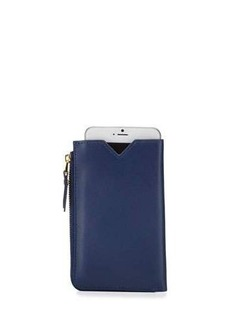 Neiman Marcus Large Leather Zip-Around Phone Wallet