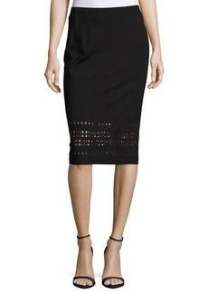 Neiman Marcus Laser-Cut Pencil Knit Skirt