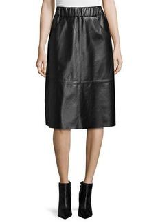 Neiman Marcus Leather A-Line Midi Skirt