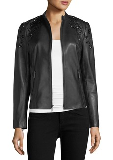 Neiman Marcus Leather Collection Bead-Embellished Leather Jacket