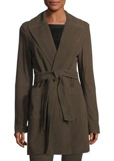 Neiman Marcus Belted Suede Wrap Coat