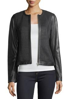 Neiman Marcus Center-Zip Leather Basketweave Jacket