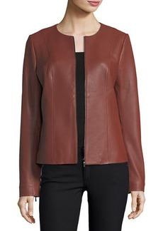 Neiman Marcus Center-Zip Leather Jacket