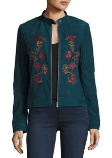 Neiman Marcus Floral-Embroidered Suede Moto Jacket