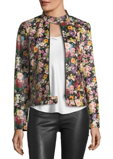 Neiman Marcus Floral-Print Leather Jacket