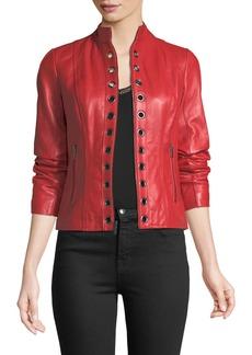 Neiman Marcus Grommet-Trim Leather Jacket