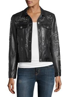 Neiman Marcus Leather Crystal Motorcycle Jacket