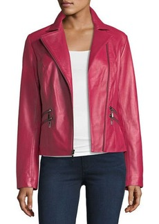 Neiman Marcus Leather Collection Leather Moto Jacket