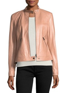 Neiman Marcus Leather Moto Jacket w/ Quilted Shoulders