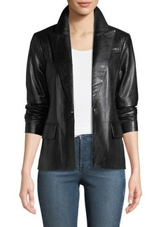 Neiman Marcus Leather One-Button Blazer