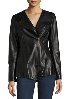 Neiman Marcus Leather Collection Leather Peplum Jacket