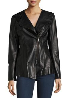 Neiman Marcus Leather Peplum Jacket