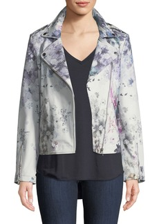 Neiman Marcus Leather Watercolor Floral Motorcycle Jacket
