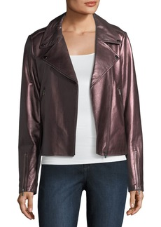 Neiman Marcus Leather Collection Metallic Leather Moto Jacket