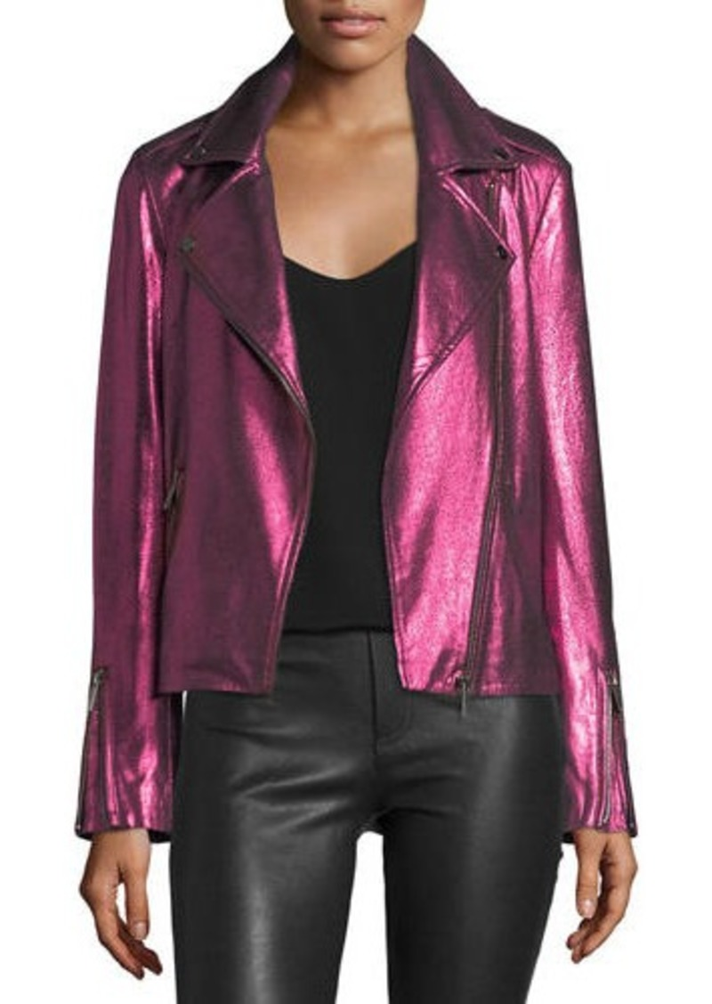 Neiman Marcus Metallic Suede Motorcycle Jacket