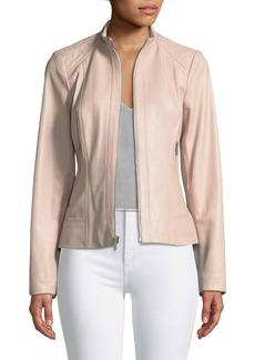 Neiman Marcus Quilted-Shoulder Zip-Front Leather Jacket