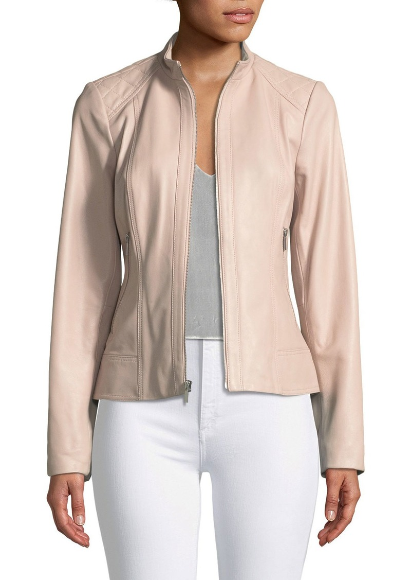 Neiman Marcus Quilted Shoulder Zip Front Leather Jacket Outerwear