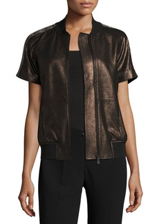 Neiman Marcus Short-Sleeve Chain-Trimmed Leather Bomber Jacket