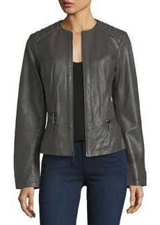 Neiman Marcus Leather Collection Studded-Shoulder Leather Moto Jacket