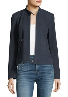 Neiman Marcus Leather Collection Studded-Trim Suede Jacket