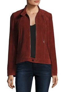 Neiman Marcus Suede Moto Jacket w/ Quilted Shoulders