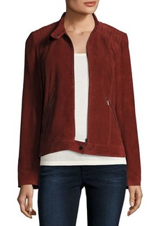 Neiman Marcus Leather Collection Suede Moto Jacket w/ Quilted Shoulders