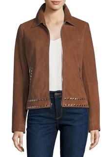 Neiman Marcus Suede Zip-Front Studded Jacket