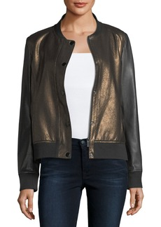Neiman Marcus Sueded Leather Bomber Jacket