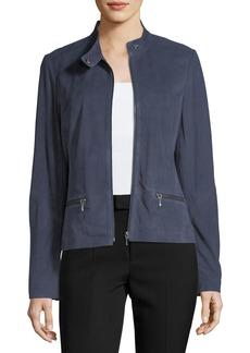 Neiman Marcus Tab-Collar Suede Moto Jacket