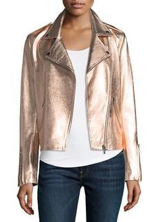 Neiman Marcus Leather Collection Zip-Front Metallic Leather Moto Jacket