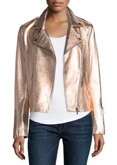 Neiman Marcus Leather Collection Zip-Front Metallic Leather Moto Jacket